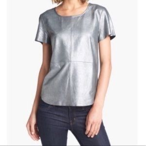 Trouve real leather top, silver, size XS